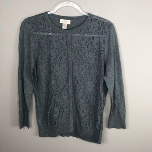 Ann Taylor Charcoal Gray Lace Front Cardigan